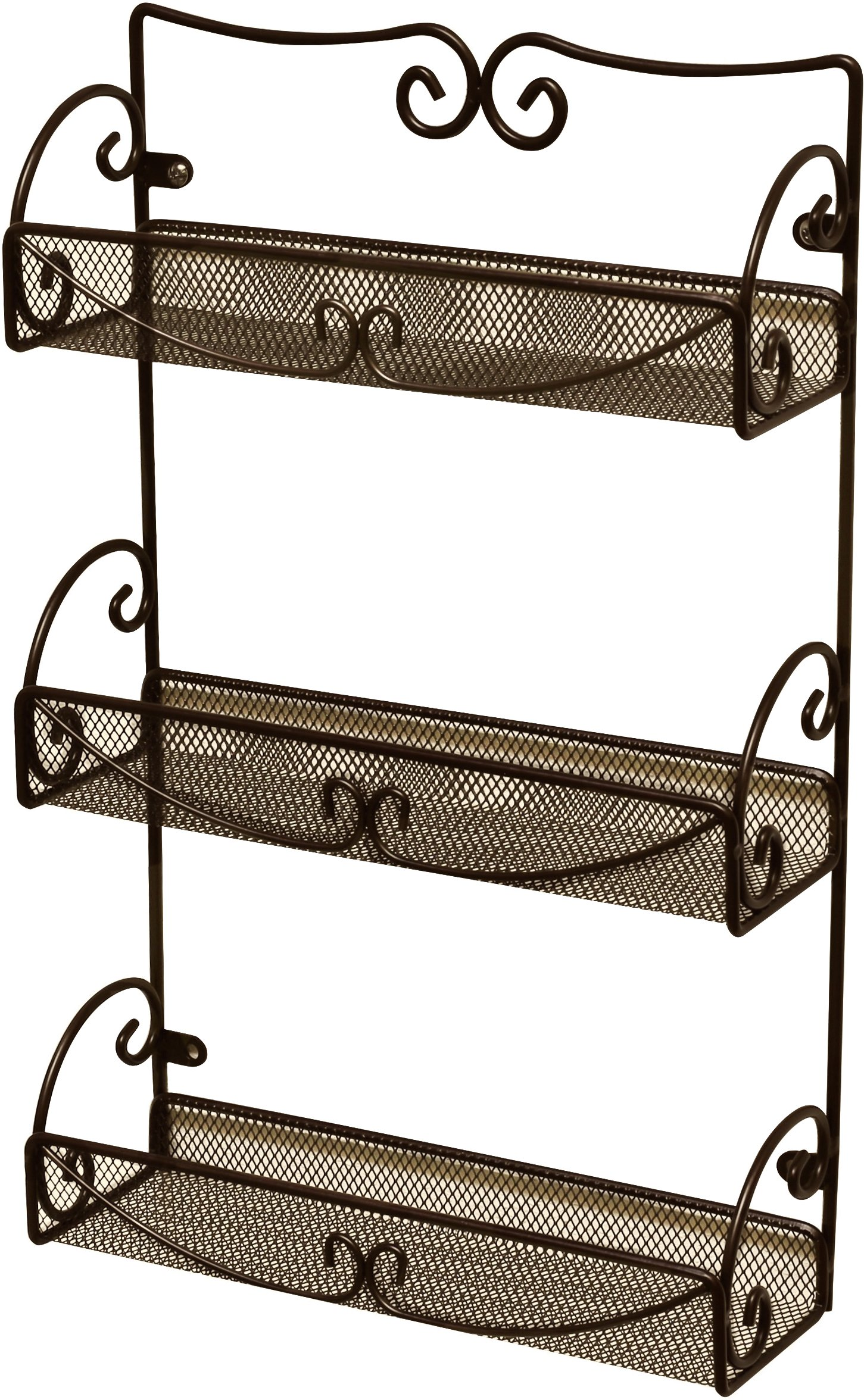 decobros 3 tier wall mounted spice rack bronze deco brothers ebay. Black Bedroom Furniture Sets. Home Design Ideas