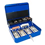 Cash Box with Money Tray and Secure Lock (Admiral Blue) (Color: Admiral Blue, Tamaño: Large)
