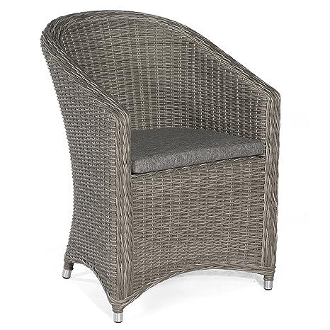 Soleil partenaires Chaise de jardin Fauteuil modèle Solana Stone/Gris avec coussin