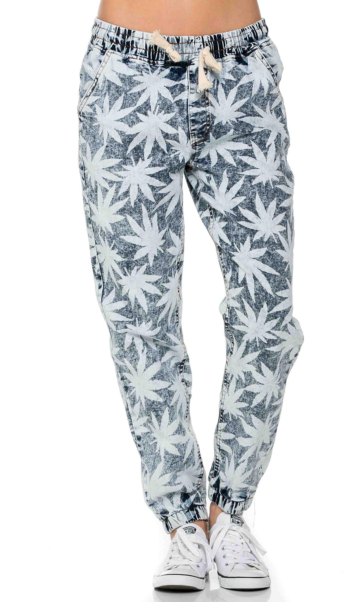 Weed Print Denim Jogger Pants Marijuana