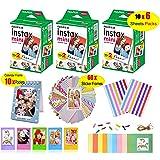 Fujifilm Instax Mini Film for Instant Camera (3 Twin Packs 60 Sheets White Film)+60 Sticker Frames +10 Paper Hanging Frames +5 Plastic Desk Frames +Standing Notebook Frames 10 Pockets + Corner Sticker (Color: 60PCS film)