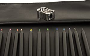 Adult Coloring Book Sketchbook Carrying Case. 12 Vibrant Colored Pencils, Sharpener, and Supplies Pouch for Easy Personalization. Universal Sized Holders for Color Books Drawing Pads and Pens.