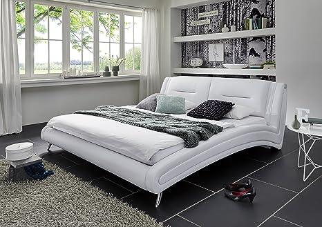 SAM® Polsterbett Silva in weiß 180 x 200 cm geschwungene Seitenteile Chrom farbene Fuße modernes Design Wasserbett geeignet Bett