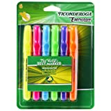 Ticonderoga Emphasis Fluorescent Highlighters, Desk Style, Chisel Tip, Pack of 6 Assorted Colors (47076) (Color: Multicolored, Tamaño: 1 - Pack)