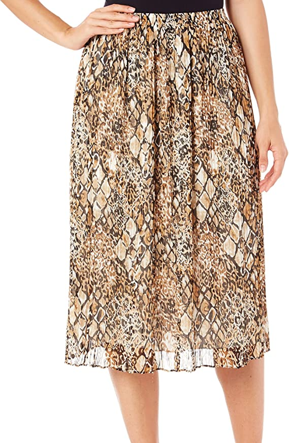 Animal Magnetism Animal Patch Broomstick Skirt in Multi By Alfred Dunner