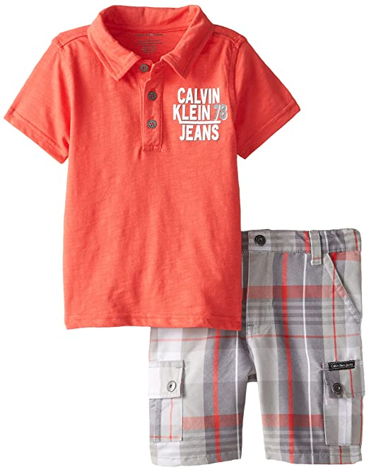 Calvin Klein Little Boys' Toddler Polo with Plaid Shorts