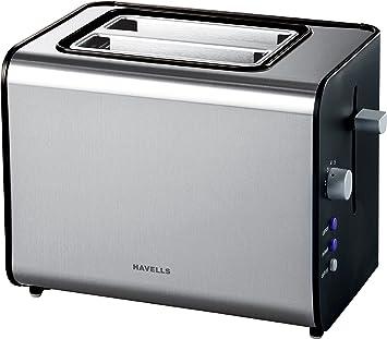 Havells Quattro 870-Watt Stainless Steel Pop-up Toaster (Black)