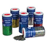 Pacon Spectra Glitter Sparkling Crystals, Assorted Colors, 4-Ounce, 6-Pack (91370) (Color: Blue;gold;green;multi-colored;red;silver, Tamaño: 4 oz)