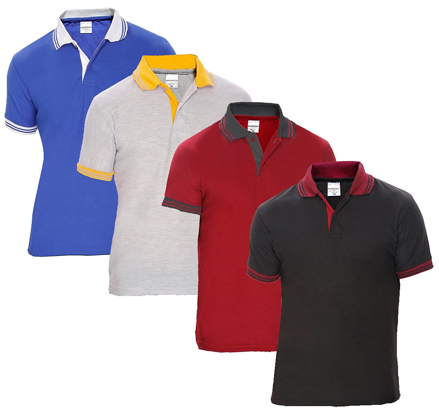 Black and white striped t shirt xxl - Baremoda Men S Polo T Shirt Black Maroon Grey And Blue Combo Pack Of 4