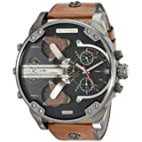 Diesel Men's DZ7332 Mr Daddy 2.0 Gunmetal Brown Leather Watch (Color: Brown)