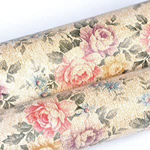yazi Self-Adhesive Shelf Liner Drawer Contact Paper,17x78 Inches,Vintage Peony (Color: Vintage Peony, Tamaño: 17x78 Inches)