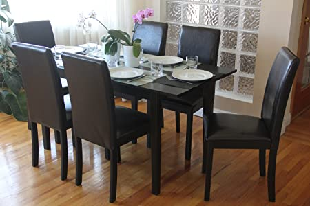 7 Pc Dining Room Dinette Kitchen Set Extension Table 6 Fallabella Chairs in Espresso Finish