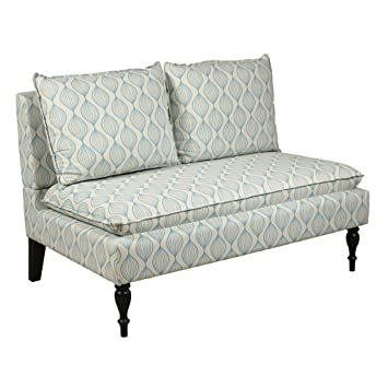 Pulaski Marcella Settee, Upholstered Pattern, Cream/Blue