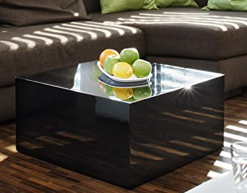 Couch-Tisch schwarz Hochglanz quadratisch aus MDF 60x60cm quadratisch | Kuba | Moderner Wohnzimmer-Tisch in schlichtem Design 60cm x 60cm