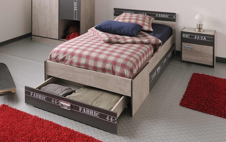 """Parisot Bett mit Schubkästen und Nako """"Fabric 3"""" Esche-grau"""