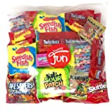 Trick Or Treat Halloween Candy Party Mix Bulk Bag of Skittles Swedish Fish Nerds Haribo Gummy Sour Patch Twizzlers Starburst Mike and Ike Custom Varietea Peppermints n' more! Net wt (48 oz) (Tamaño: 48 oz)