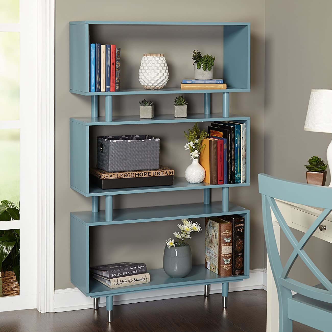 Mid Century Modern Wooden Accent Bookshelf in Blue Finish with 3 Shelves and Silver Legs - Includes Modhaus Living Pen 0