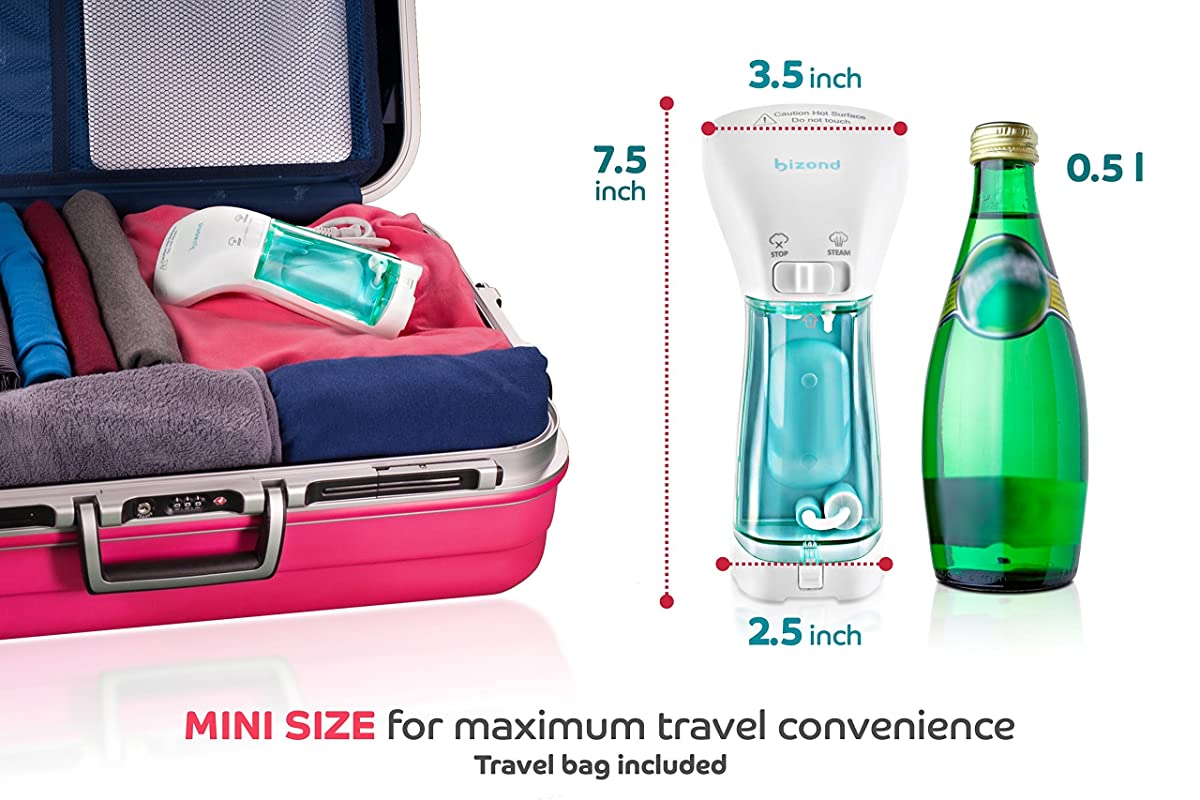 Mini Clothing Steamer for Garments, Fabric, and Draperies - Compact, Portable, Handheld for Home and Business Travel - No Spitting, Works at All Angles, w/ Filter - Best Professional Iron Alternative