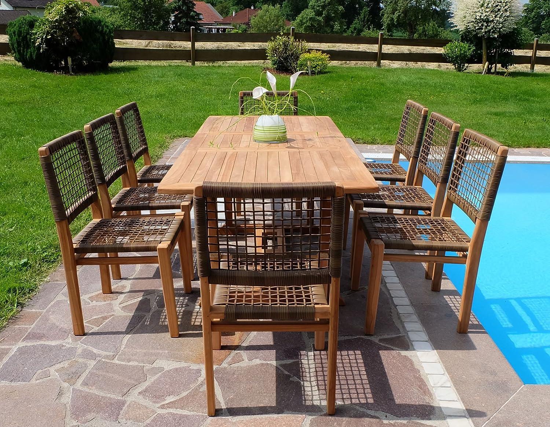 Rustikale Super Edle TEAK Gartengarnitur Gartenset Gartenmöbel mit Ausziehtisch 150-200cm + 8 Sessel 'RIO' Holz geölt von AS-S online bestellen