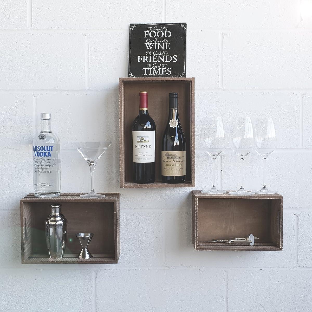 Wallniture Wall Mounted Shelves Crates - Durable Wood Floating Display Storage Bin Organizer With Handles Set of 3 , Walnut