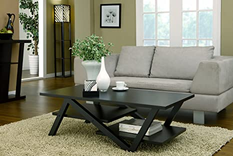 Calais Modern Rectangular Coffee Table, Black