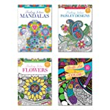 B-THERE Adult Coloring Books - Set of 4 Coloring Books, Over 125 Different Designs Combined! Mandala Coloring Books for Adults with Detailed Flower Designs Printed on Heavy Paper. (Tamaño: Design A)
