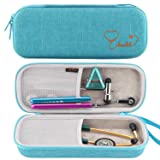 Canboc Stethoscope Carrying Case for 3M Littmann Classic III/Cardiology IV Stethoscope - Extra Storage Taylor Percussion Reflex Hammer, Reusable Medical LED Penlight, Turquoise (Color: Turquoise)