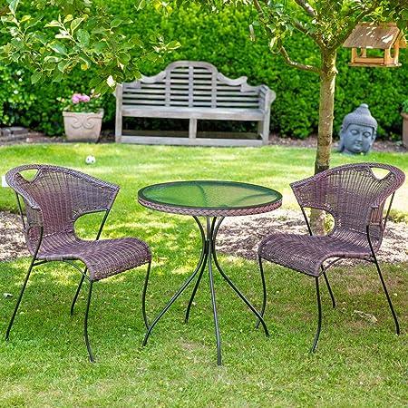 Bistro- Balkonset Gartensitzgruppe 3 tlg. mit 2 Sessel und 1 Glastisch rund mocca braun