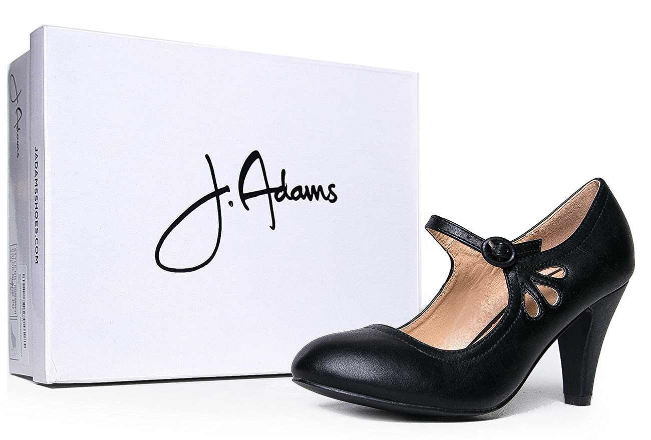 Kitten Heels Mary Jane Pumps By Zooshoo- Adorable Vintage Shoes- Unique Round Toe Design With An Adjustable Strap,Black Pu,5.5 B(M) US 5