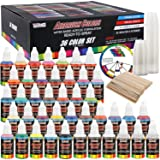U.S. Art Supply 36 Color Deluxe Acrylic Airbrush, Leather & Shoe Paint Set with Cleaner, Thinner, 50-Plastic Mixing Cups, 50-Wooden Mix Sticks and Color Mixing Wheel (Color: 36-color Deluxe Set, Tamaño: 36-Color Deluxe Set)