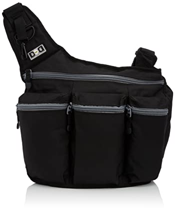 Diaper Dude Messenger Diaper Bag for Dads, Black with Gray Zippers