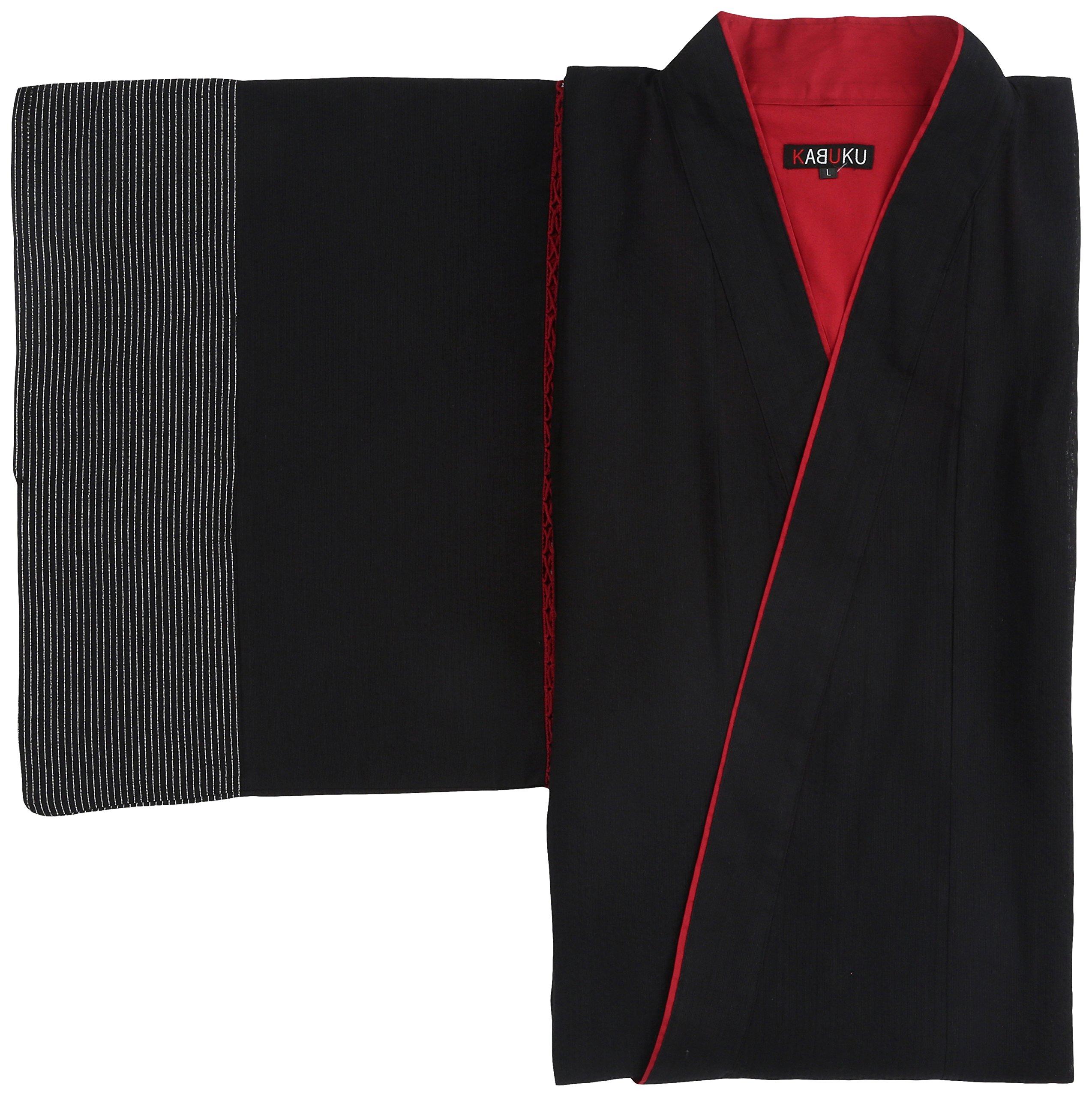 (カブク)KABUKU メンズ浴衣 桜吹雪柄 KBK-0013  Black×White Lサイズ L