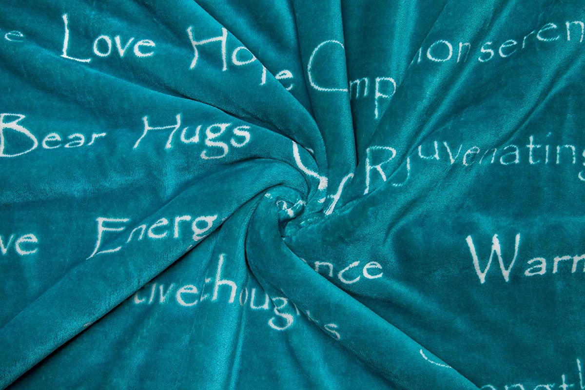 Chanasya Super Soft Ultra Plush Healing Thoughts Warm Hugs Posivite Energy Comfort Caring Gift Teal Throw Blanket- Teal Blue and White Gift Blanket