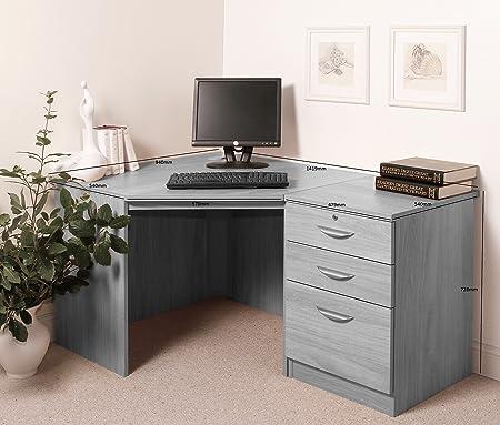 Home Office Furniture UK Drawer Desk Filing Cabinet Living Room Corner Table Set, Wood, Walnut, wood Grain Profile, 3-Piece