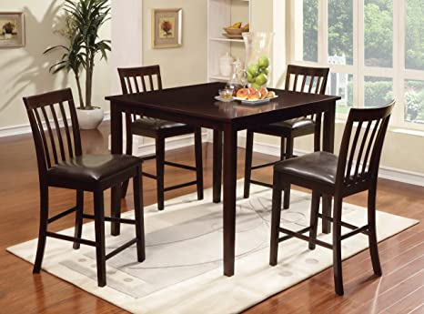 Furniture of America Cecily 5-Piece Counter Height Table Set, Espresso