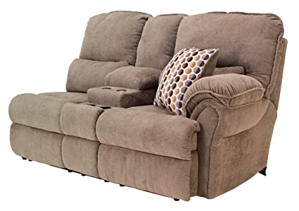 Comfort Commandor Mocha RAF Double Reclining Loveseat with Console