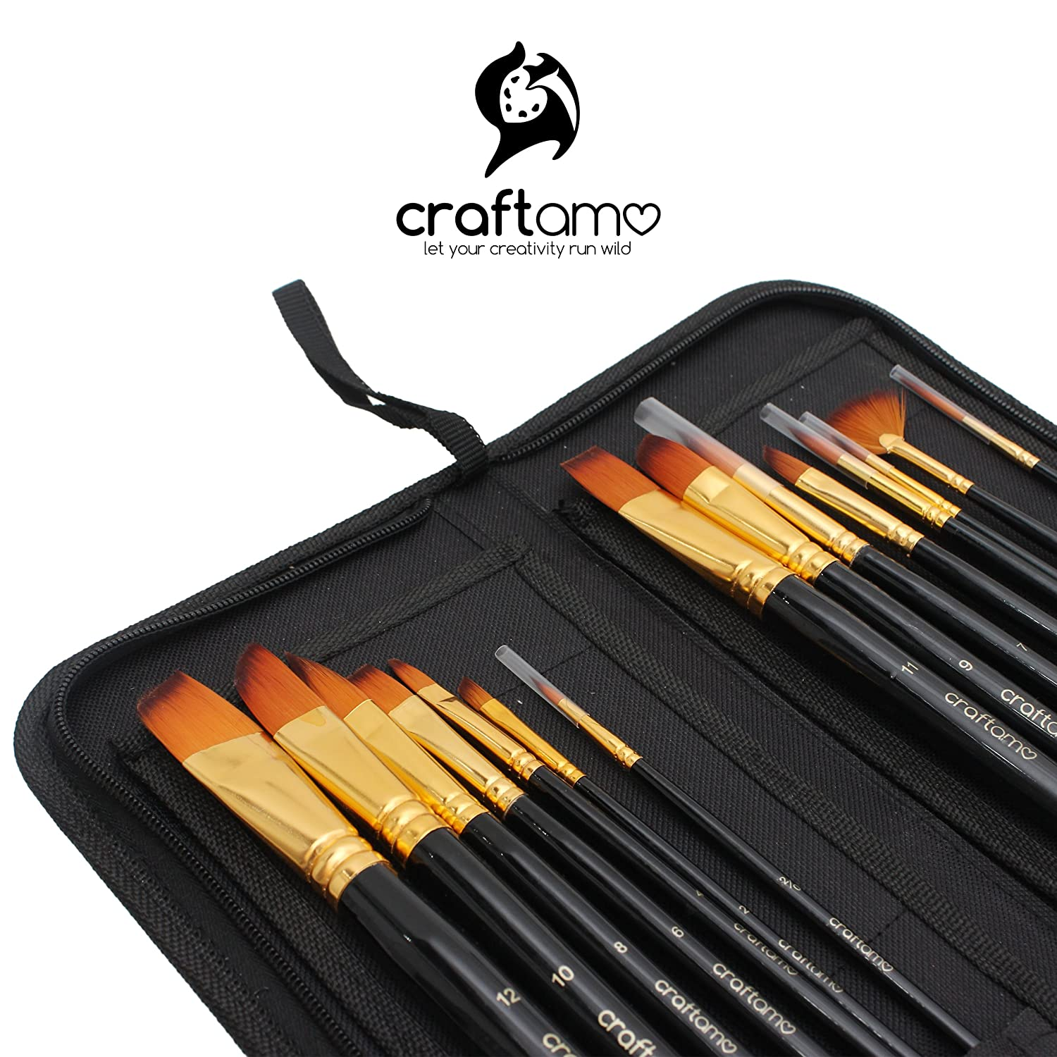 Art Paint Brush Set for Watercolor, Acrylics, Oil & Face Painting