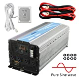 GIANDEL 4000W Heavy Duty Pure Sine Wave Power Inverter DC12V to AC120V with 4 AC Outlets with Remote Control 2.4A USB and LED Display (Color: Silver, Tamaño: 4000W/12V)