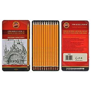 Koh-i-noor 1502 - Conjunto de lápices de grafito profesionales (12 unidades)   Comentarios de clientes y más información