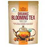 Blooming Tea - 7 Organic All Natural Flavors of Flowering Tea - 100% Organic Calendula Flowers and Green Tea Leaves in Hand Sewn Blooming Tea Balls from Kiss Me Organics - 7 Blooms - One of Each (Tamaño: 7 Flowers)