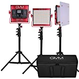 GVM LED Video Panel Light Variable 2300K~6800K With Digital Display For Studio. CRI97+ TLCI97 + & Brightness of 10~100% Metal Housing for Video Photography Lighting 29W 3 pcs Kit (Red) (Red)