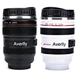 Averlly Camera Lens Coffee Mug Stainless Steel Insulated Tumbler Cup For Couples Creative Photographer Gifts (Black+White) (Color: Black+White)