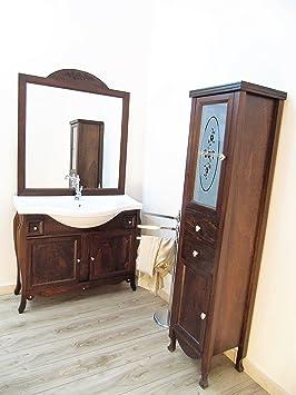 Mobile da bagno massello arte povera + colonna con swarovsky arredo bagno in legno
