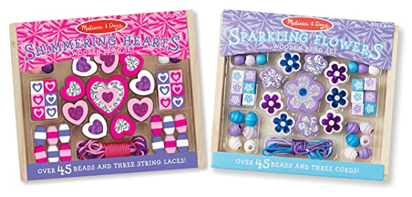 Melissa & Doug Hearts and Flowers Wooden Bead Set of 2 With 90 Beads for Jewelry-Making