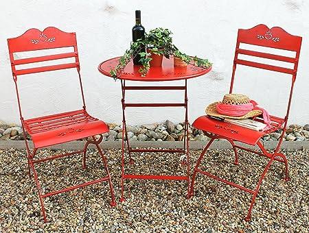 Tisch + 2 Stuhle Passion Garnitur Gartenmöbel Sitzgarnitur Metall rot