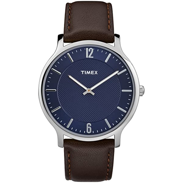 Timex Men's TW2R49900 Metropolitan 40mm Brown/Blue Leather Strap Watch (Color: Brown/Blue, Tamaño: One Size)