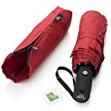 AYL Windproof Travel Umbrella with Teflon Coating and Zipper Pouch (Red)