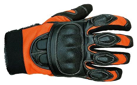 NERVE 1513120109_03 Sporty Gants Moto Eté en Cuir Textile, Noir/Orange, Taille : M
