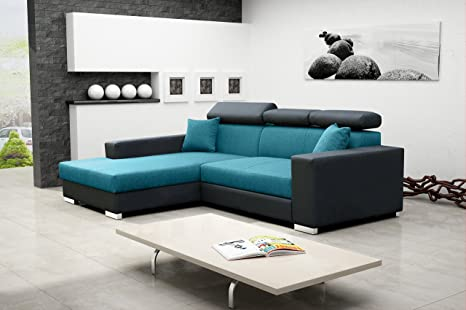 MEXICO DE LUX Corner Sofa Bed with headrests * Brand New * Modern Design * GREY AND BLUE