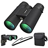 Kylietech 12x42 Binoculars for Adults, Compact HD Professional Binoculars for Bird Watching Travel Stargazing Hunting Concerts Sports-BAK4 Prism FMC Lens With Phone Mount Strap Carrying Bag (Color: Black, Tamaño: 12x42)